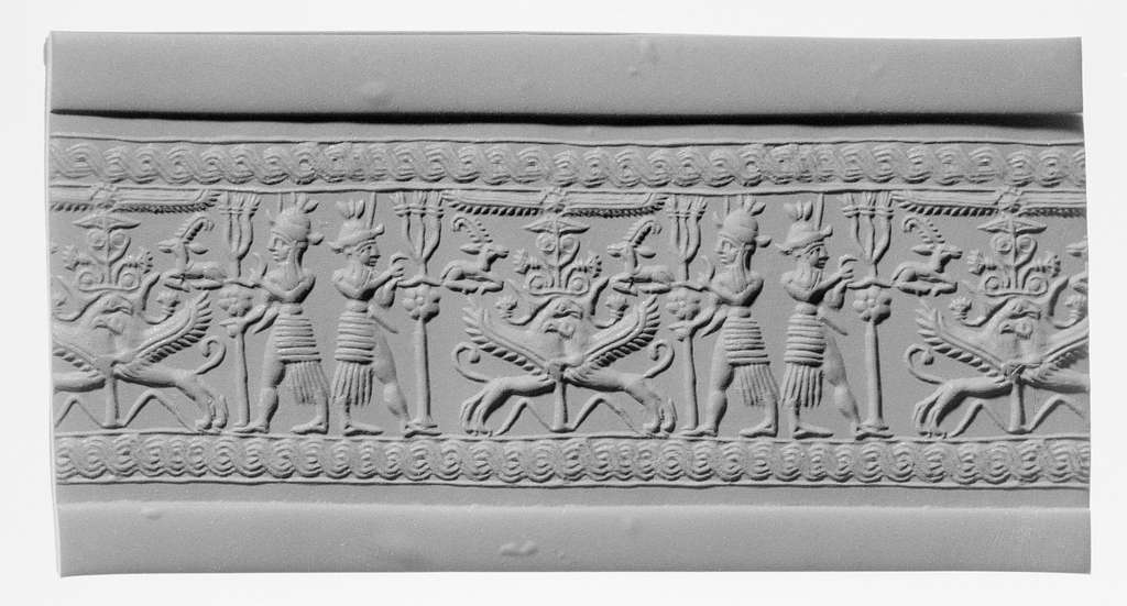 Cylinder seal and modern impression: weather gods framing heraldic griffins at tree below winged sun disc and ibexes - PICRYL Public Domain Image