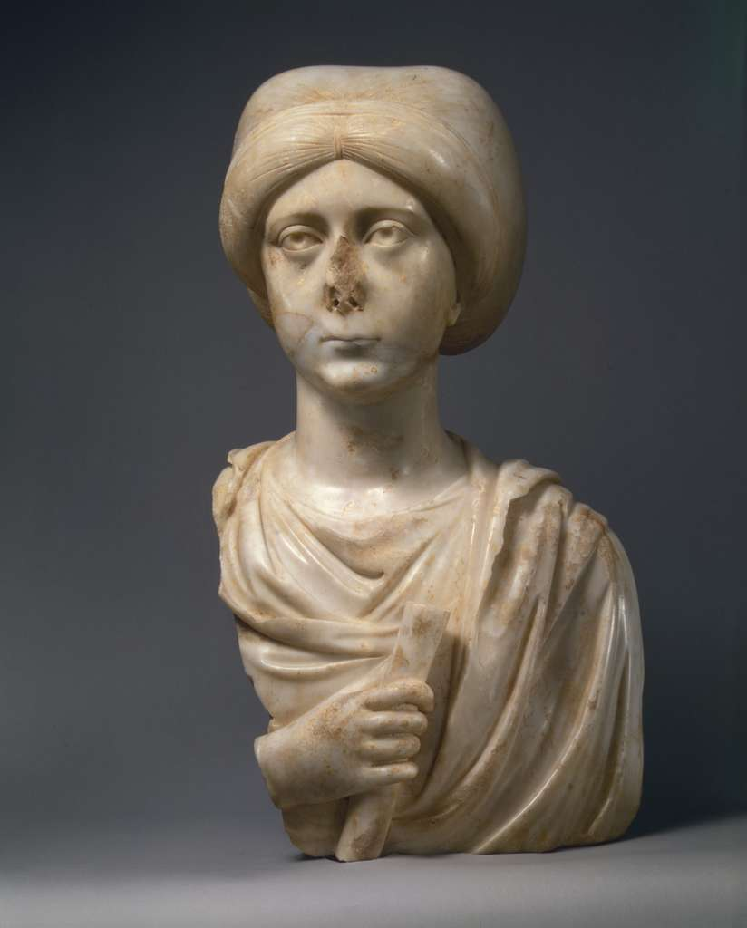 Marble Portrait Bust of a Woman with a Scroll