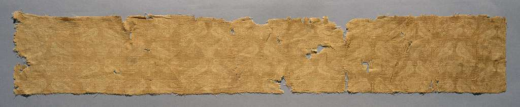 Figured woven silk textile fragment with birds