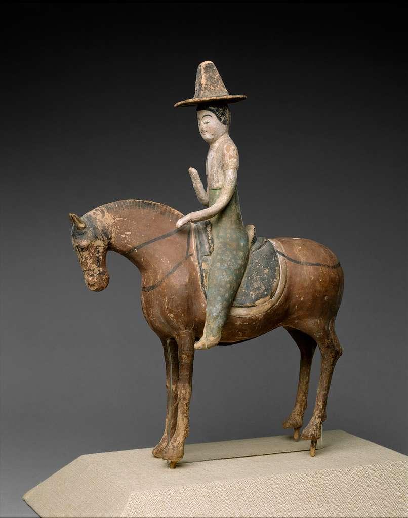 唐 彩繪泥塑騎馬仕女俑|Horse and Female Rider