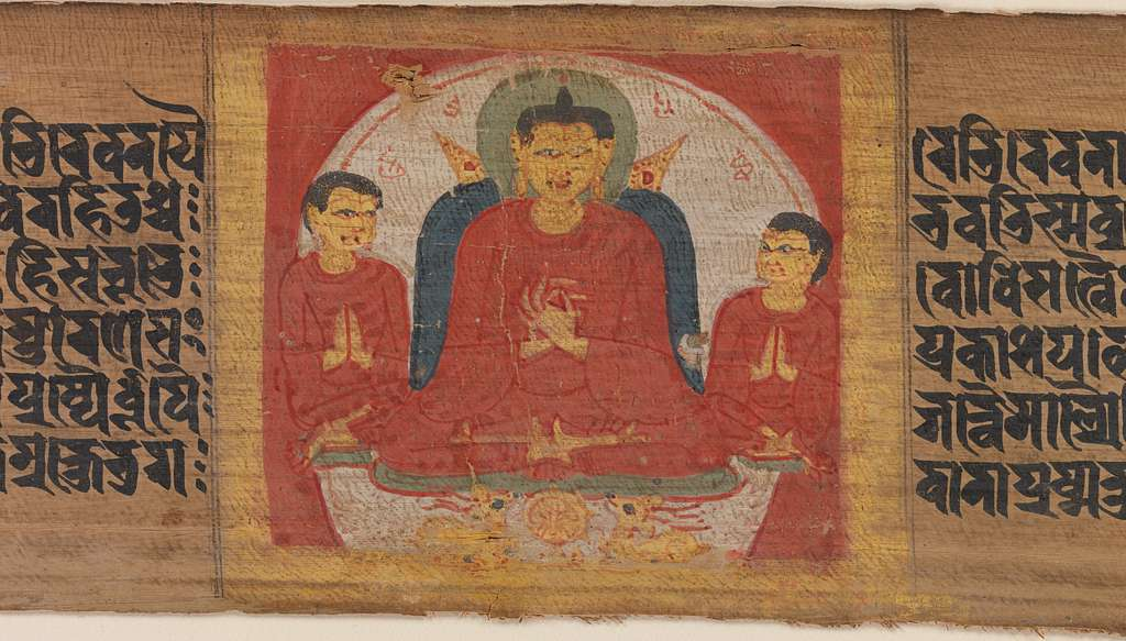 Buddha with His Hands Raised in Dharmacakra Mudra, Leaf from a dispersed Pancavimsatisahasrika Prajnaparamita Manuscript