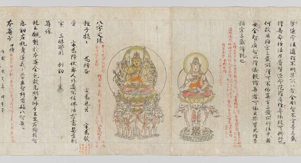 真言諸尊図像抄|Scroll from the Compendium of Iconographic Drawings (Zuzōshō)