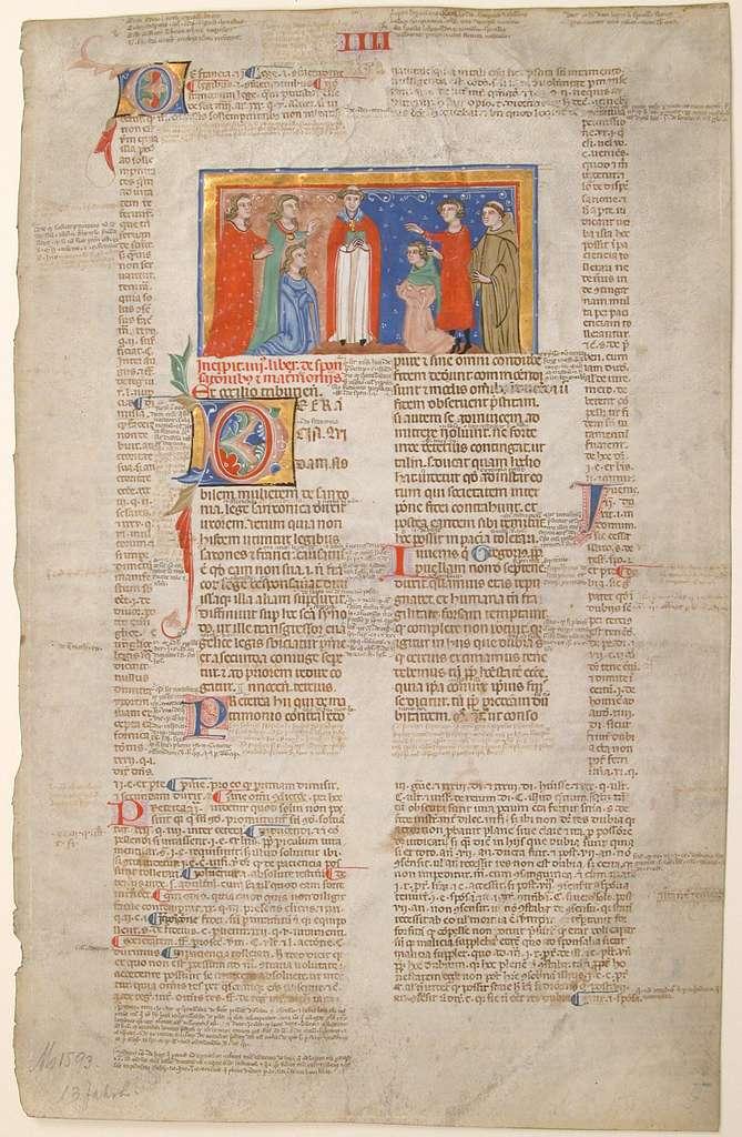 Manuscript Leaf with Marriage Scene, from Decretals of Gregory IX