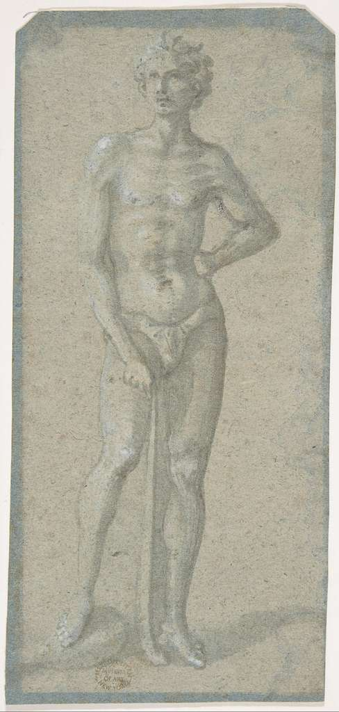 Standing Youth Holding a Club (recto); Temptation of Adam and Eve (verso)