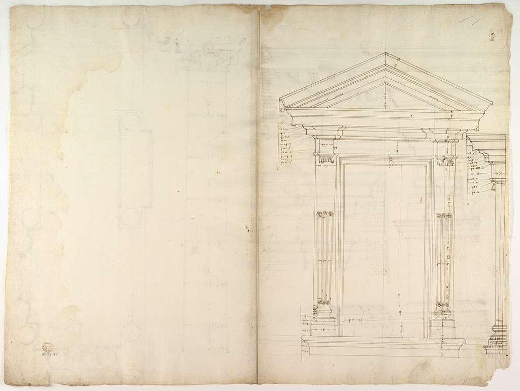 Palazzo dei Conservatori, portico, plan; façade cornice, elevation; minor order, cornice; column, elevation; pedestal, elevation (recto) Palazzo dei Conservatori, portal, elevation; section (verso)