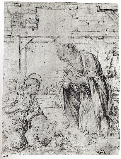 The Madonna Adoring the Child, with an Angel