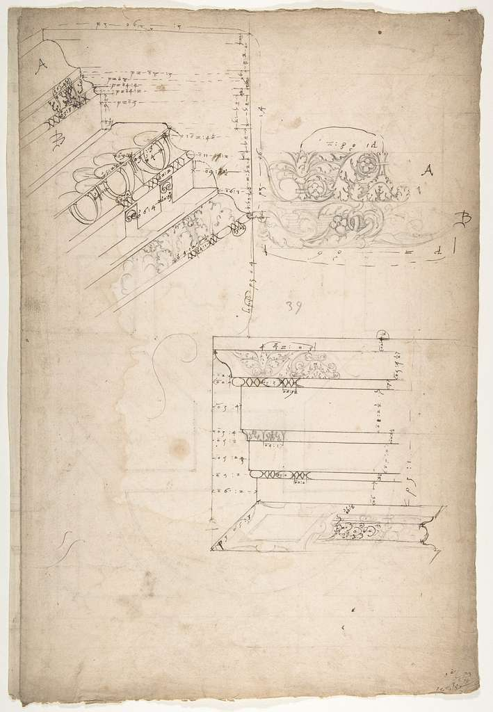 Unidentified, cornice, projection; architrave, projection (recto) Unidentified, ceiling, plan (verso)