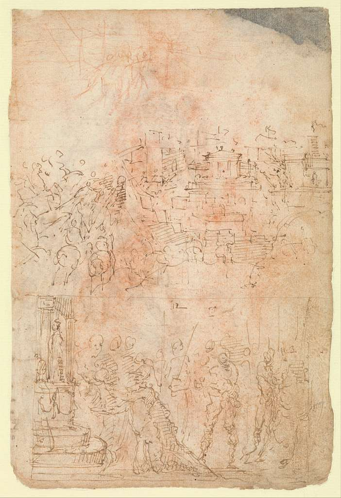 Page from a Sketchbook Depicting a City under Siege and a Scene of Homage(?) (recto); standing figures and a horseman; male and female figures; a battle scene (verso)