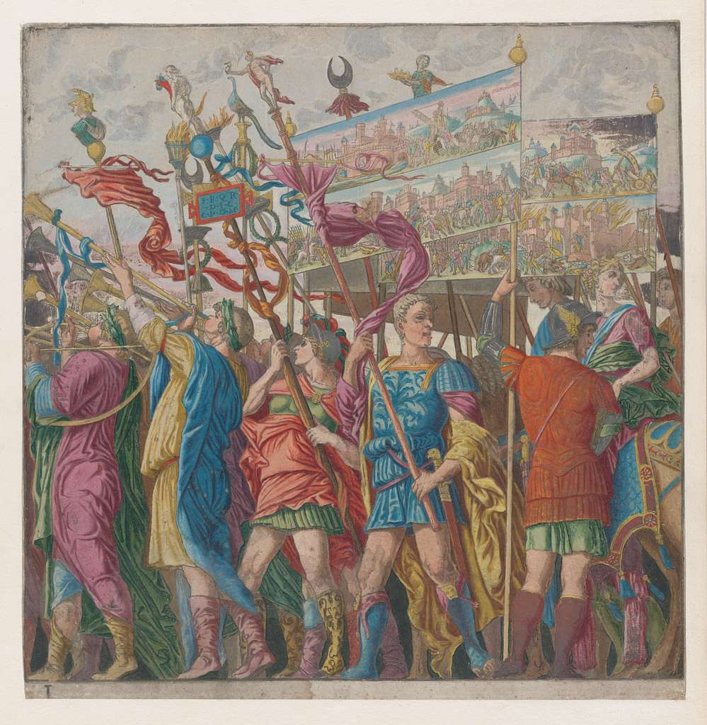 Sheet 1: Soldiers carrying banners depicting Julius Caesar's triumphant military exploits, from The Triumph of Julius Caesar