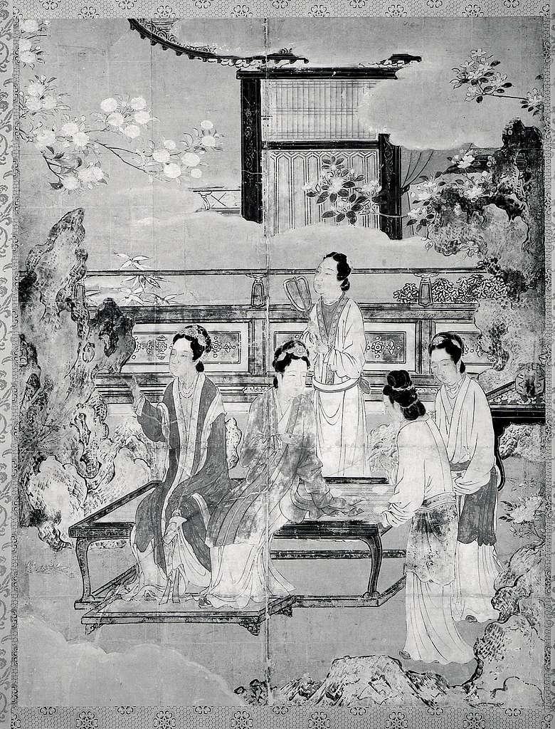 伝狩野永徳筆 唐美人唐子図屏風 Chinese Women and Children in a Palace Garden