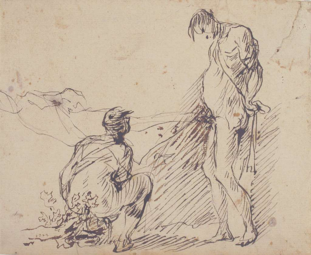 A Crouching Man Defecating and a Standing Man Urinating