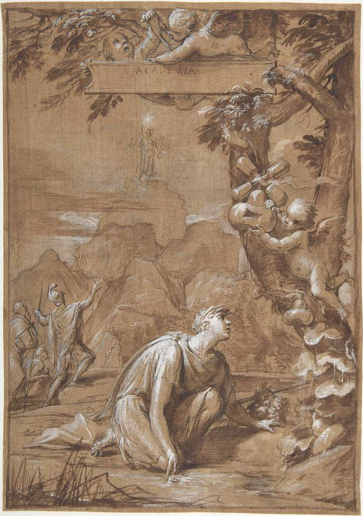 Design for a Frontispiece; Allegorical Composition with a Young Man Kneeling before a Tree
