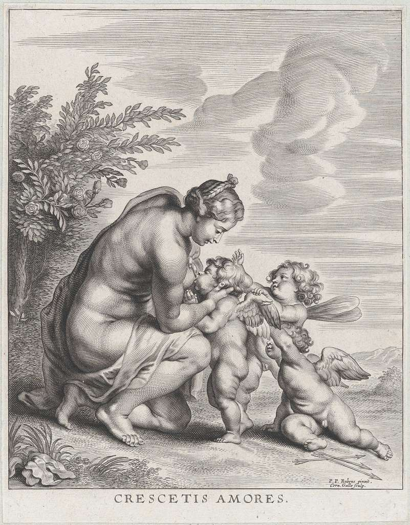 Venus nursing three Cupids in a landscape