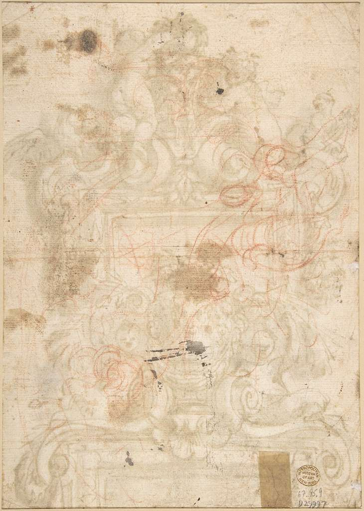 Design for an Overdoor Decoration (recto); Rinceaux (verso)