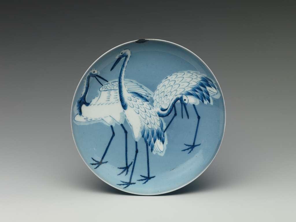 青磁染付鶴文皿|Dish with Cranes