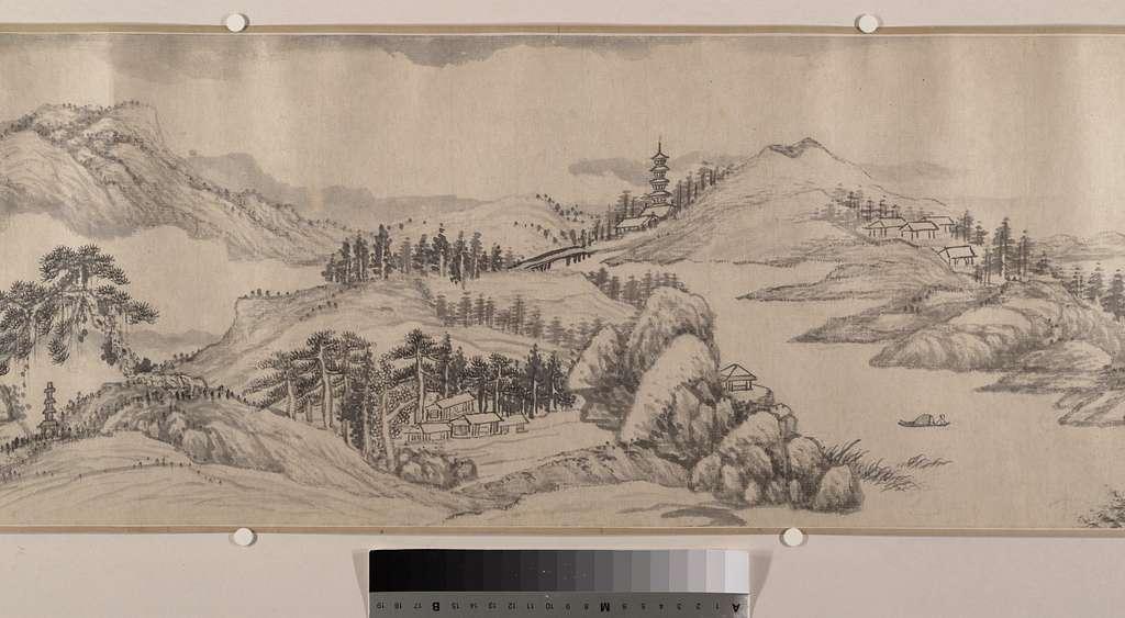清   柳堉   山水圖  卷|Traveling Amid Streams and Mountains
