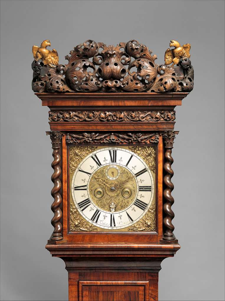 Longcase clock with calendar and alarm