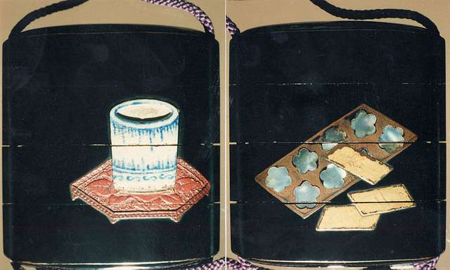 Case (Inrō) with Design of Brushpot on Carved Tsuishu Tray (obverse); Gameboard and Markers (reverse)