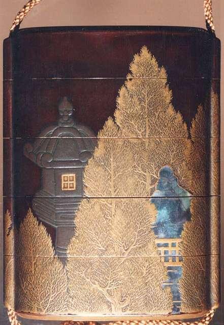 Case (Inrō) with Design of Stone Lanterns beside Cryptomeria Trees