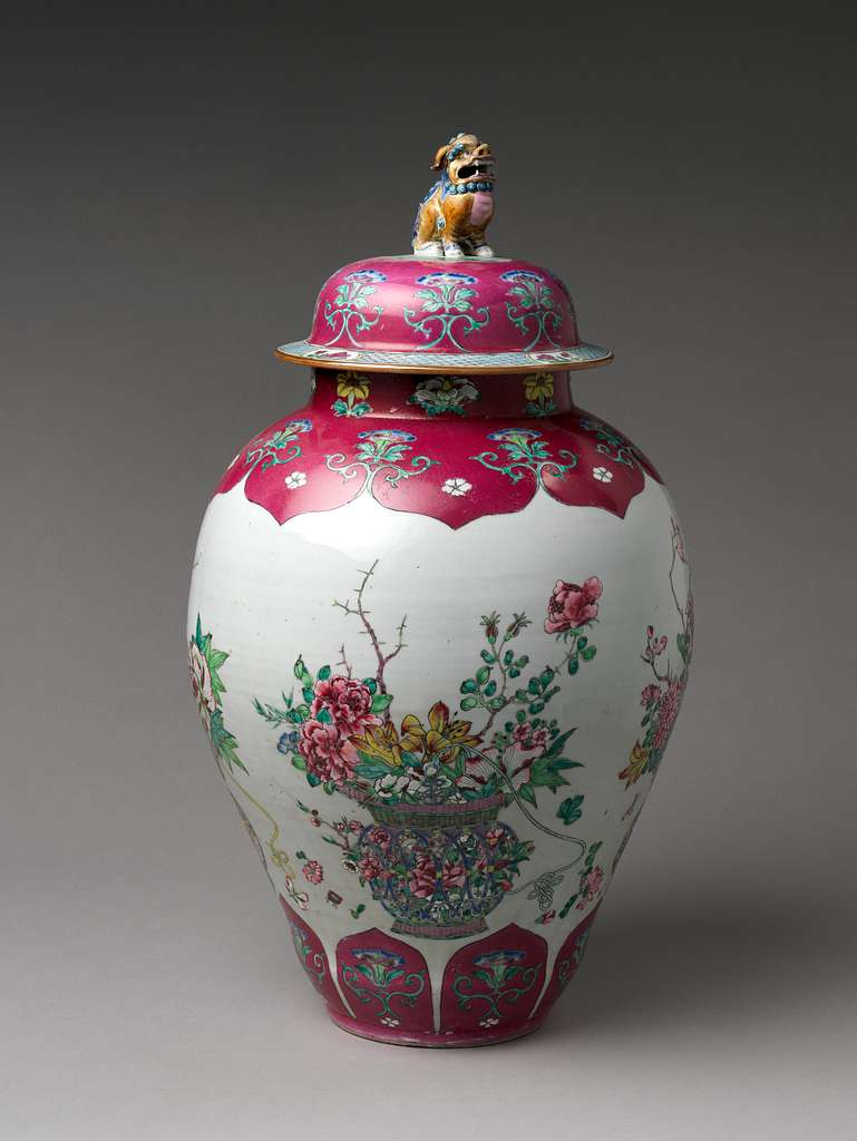 Jar with Basket of Auspicious Flowers