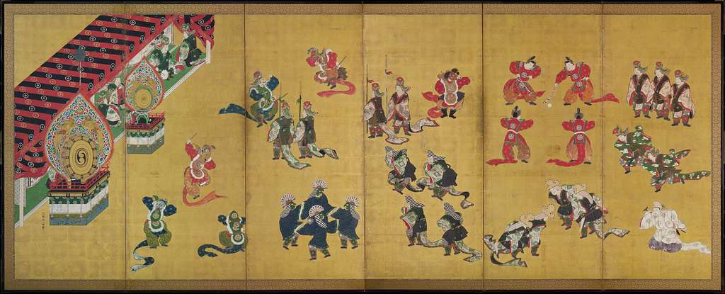 舞楽図屏風 ・唐獅子図屏風|Bugaku Dances (front); Chinese Lions (reverse)