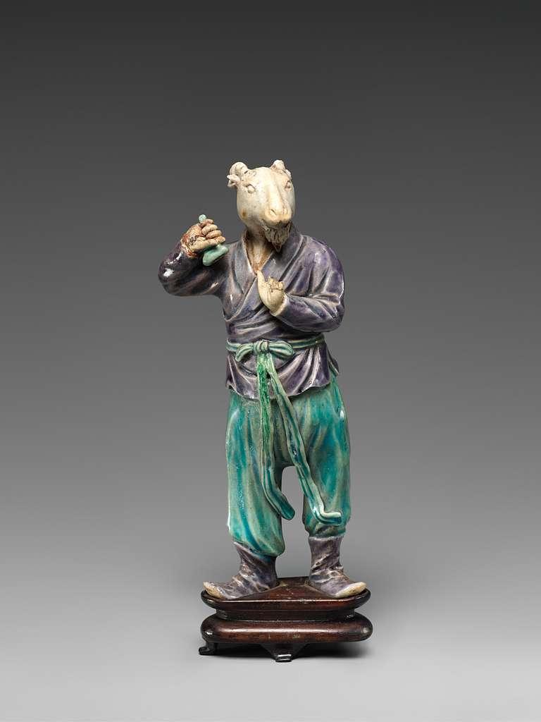 清早期 彩釉素胎生肖羊俑 Zodiac figure: goat