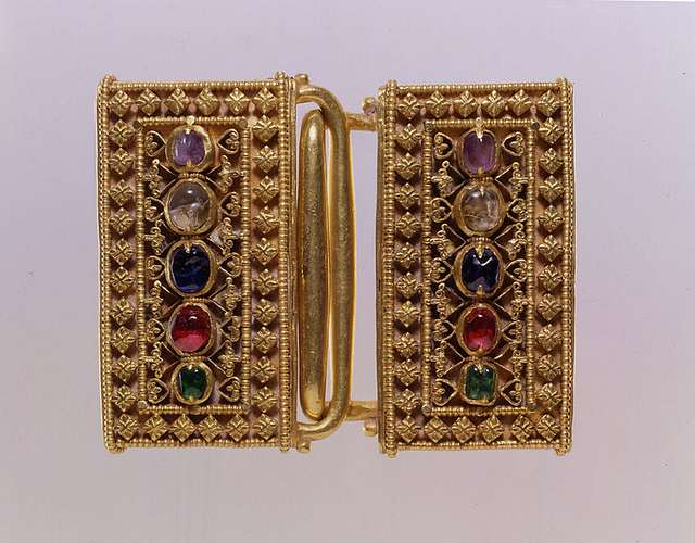 Two-Part Buckle with Inlaid Stones