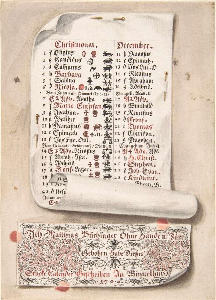 Calligraphic Trompe-l'œil Calendar