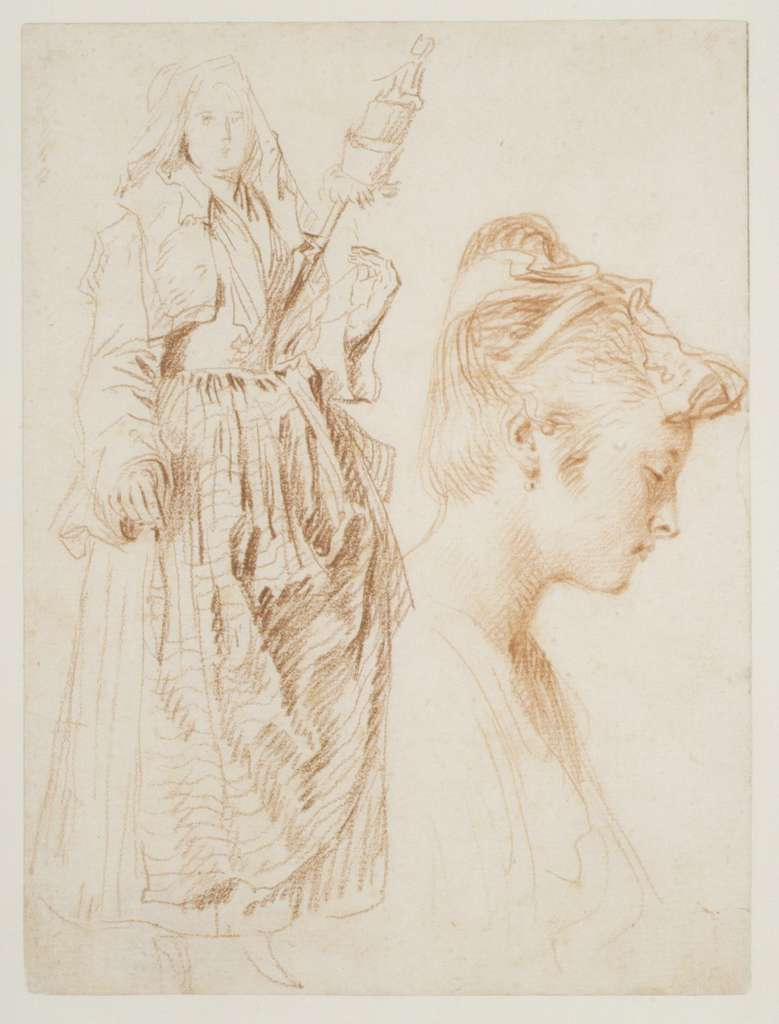 Standing Woman Holding a Spindle, and Head of a Woman in Profile to Right