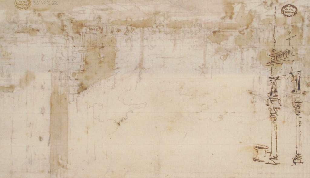 The Piazzetta, Looking Toward San Giorgio Maggiore (recto); Two Columns (verso)