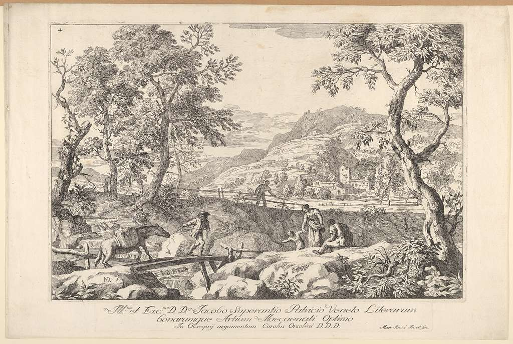 Plate 4: landscape with man leading a pack horse across a wooden bridge, three figures in right foreground, the silhouette of a man standing at a fence beyond, from 'Landscapes'
