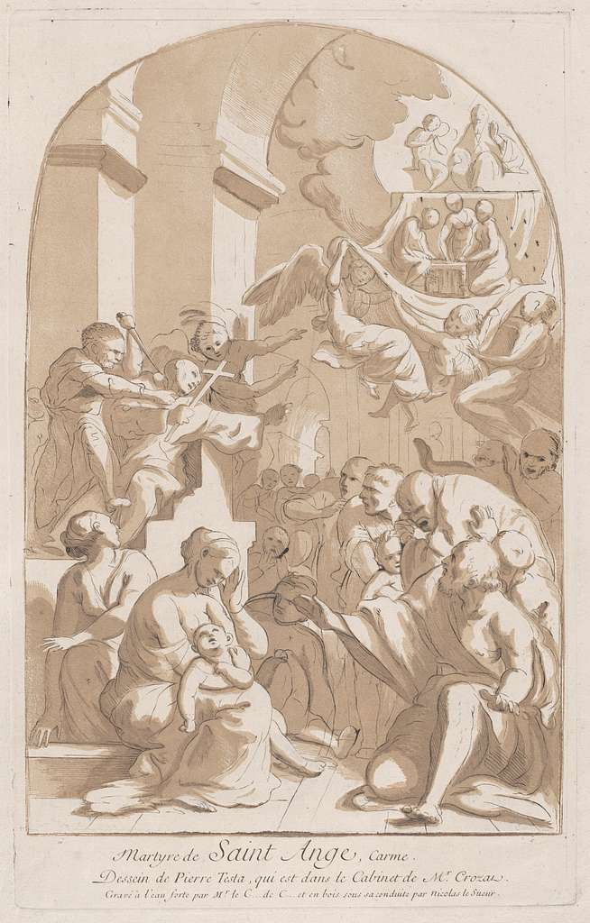 The martyrdom of Saint Angelo who in the upper left is being stabbed watched by horrified onlookers, from the 'Cabinet Crozat'