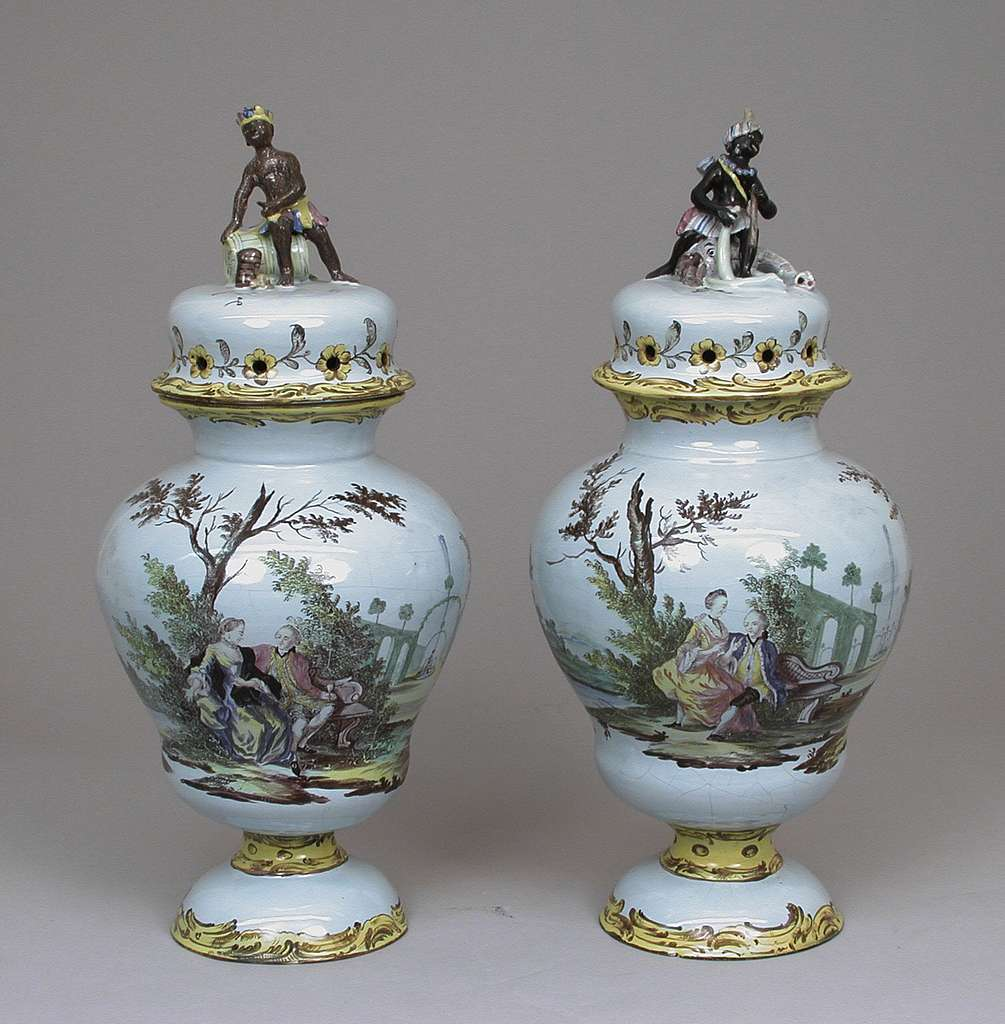 Pair of potpourri vases with covers