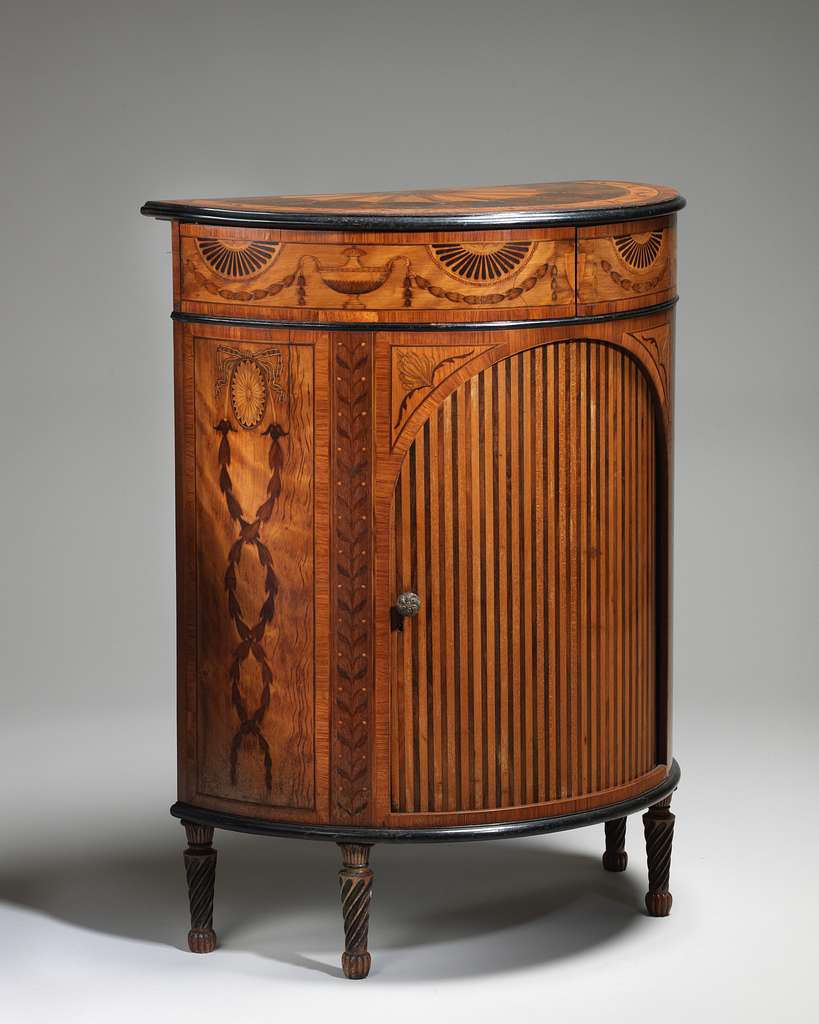 Pair of demi-lune cabinets