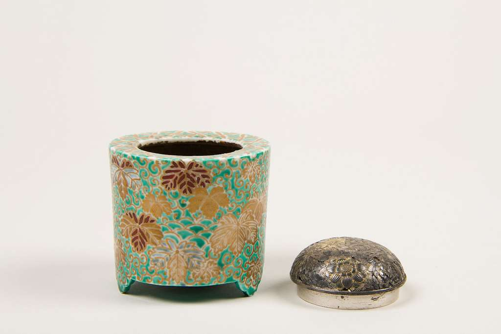 Incense Burner with Paulownia (kiri) and Scrolling Grass (karakusa) Design