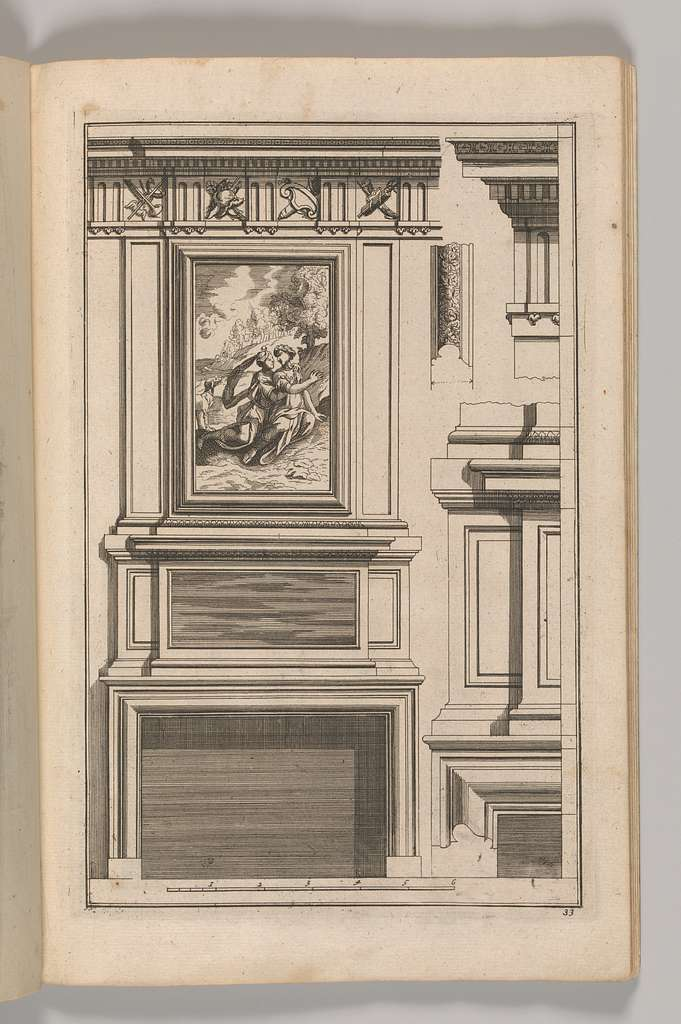 Miscellany of 17th-century Ornament Print Series: Examples of Antique Chimneypieces, Cabinets, Gueridons, Tables and Mirrors, in addition to Italian Church Facades, by illustrious architects, or a sequel to S. Bosboom
