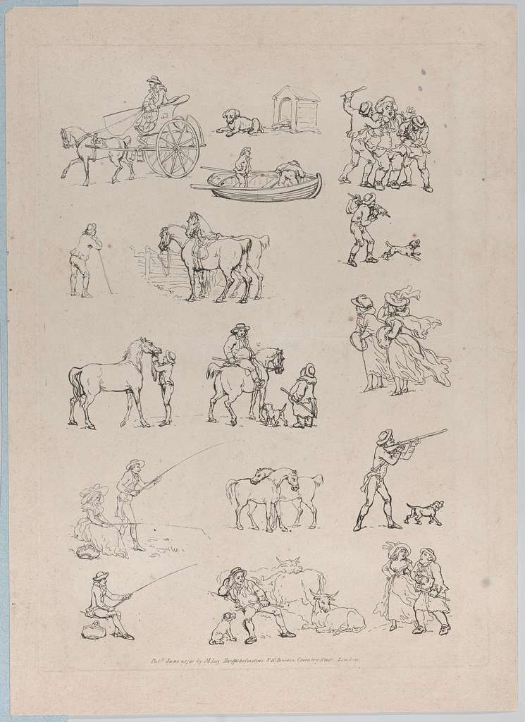 Plate 1, Outlines of Figures, Landscapes and Cattle...for the Use of Learners