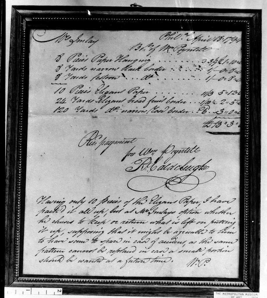Manuscript of a Receipted Bill for Wallpaper
