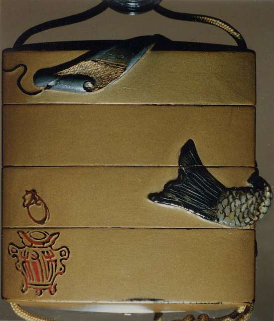Case (Inrō) with Design of Kinkō Riding a Carp and Holding a Long Scroll