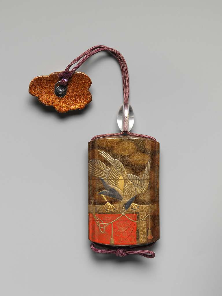 Case (Inrō) with Design of Two Hawks on Tasseled Perches