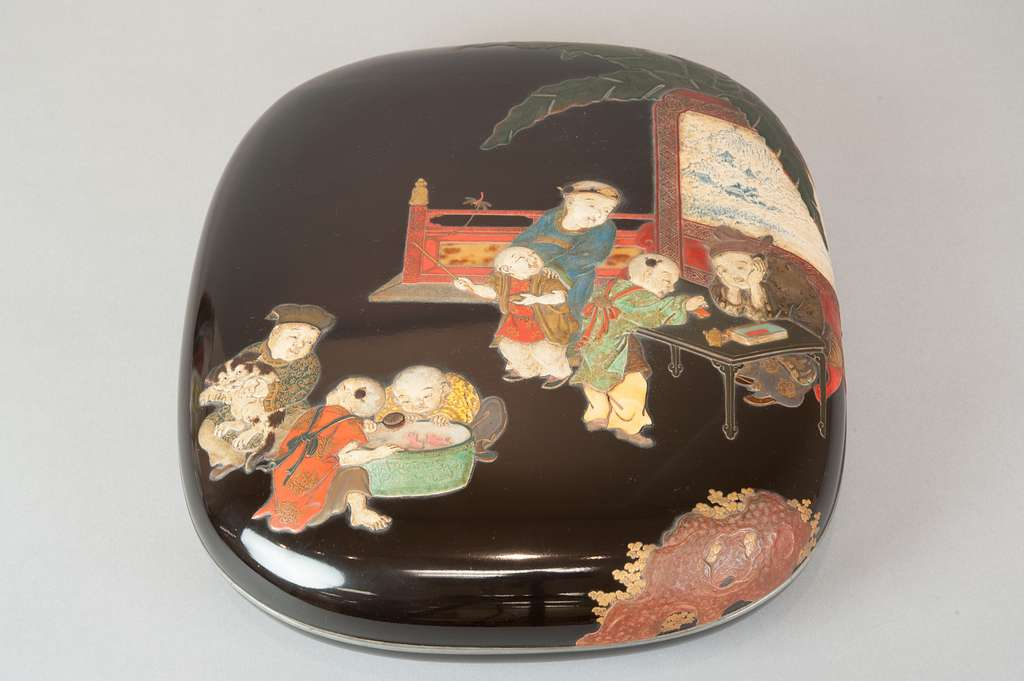Document Box with Design of Chinese Children at Play