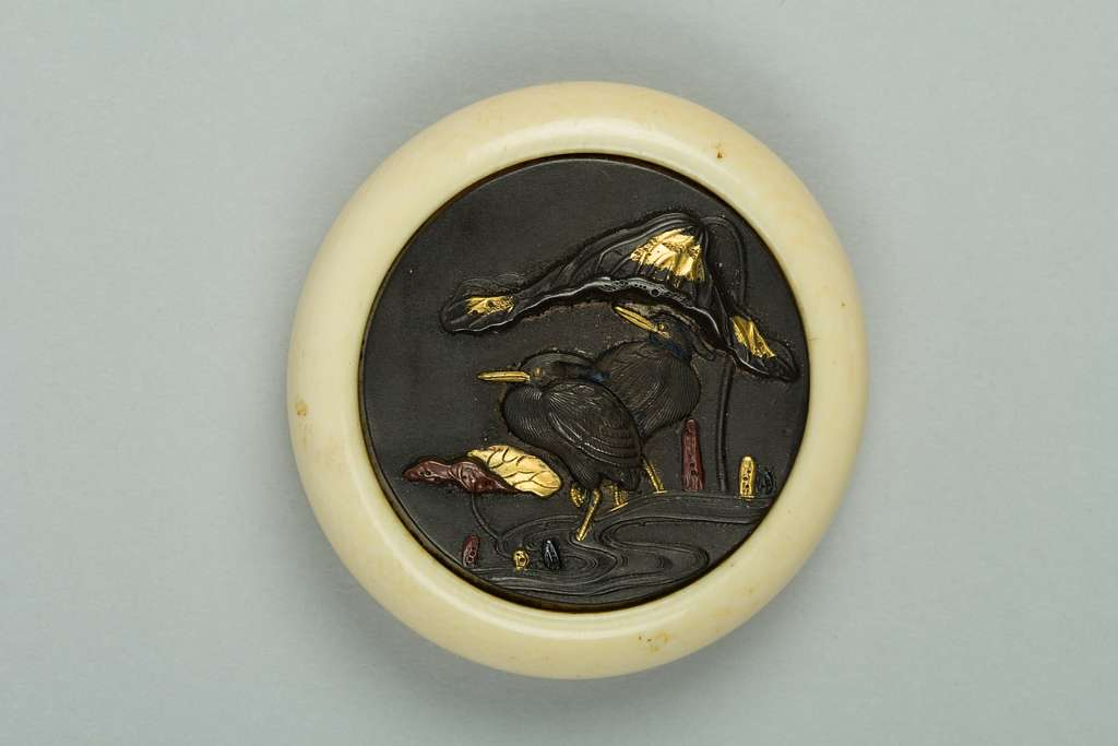 Netsuke of Cranes in a Lotus Pond