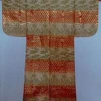 紅白段竹若松模様唐織|Noh Robe (Karaori) with Pattern of Bamboo and Young Pines on Bands of Red and White