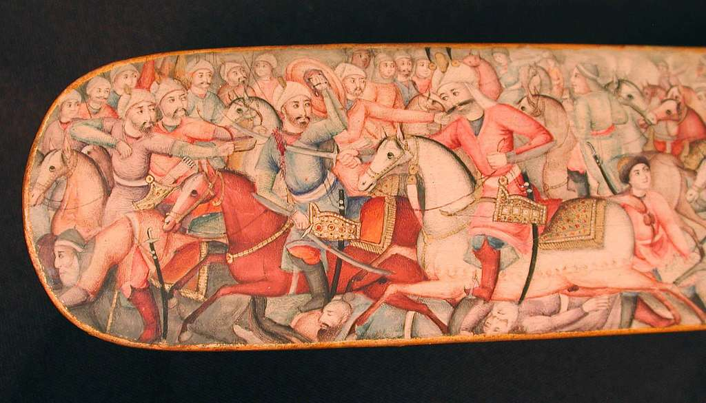 Pen Box (Qalamdan) Depicting Shah Isma'il in a Battle against the Uzbeks