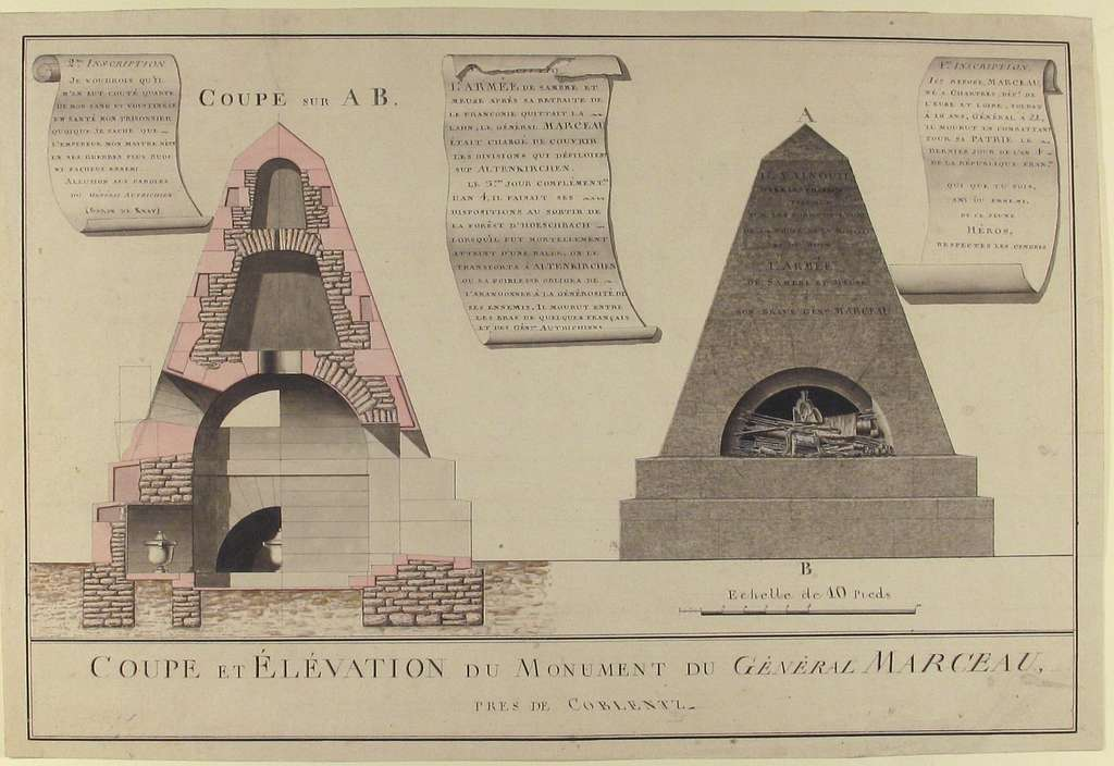 Cross-Section and Elevation of the Funeral Monument for General François Séverin Marceau (1769-1796)