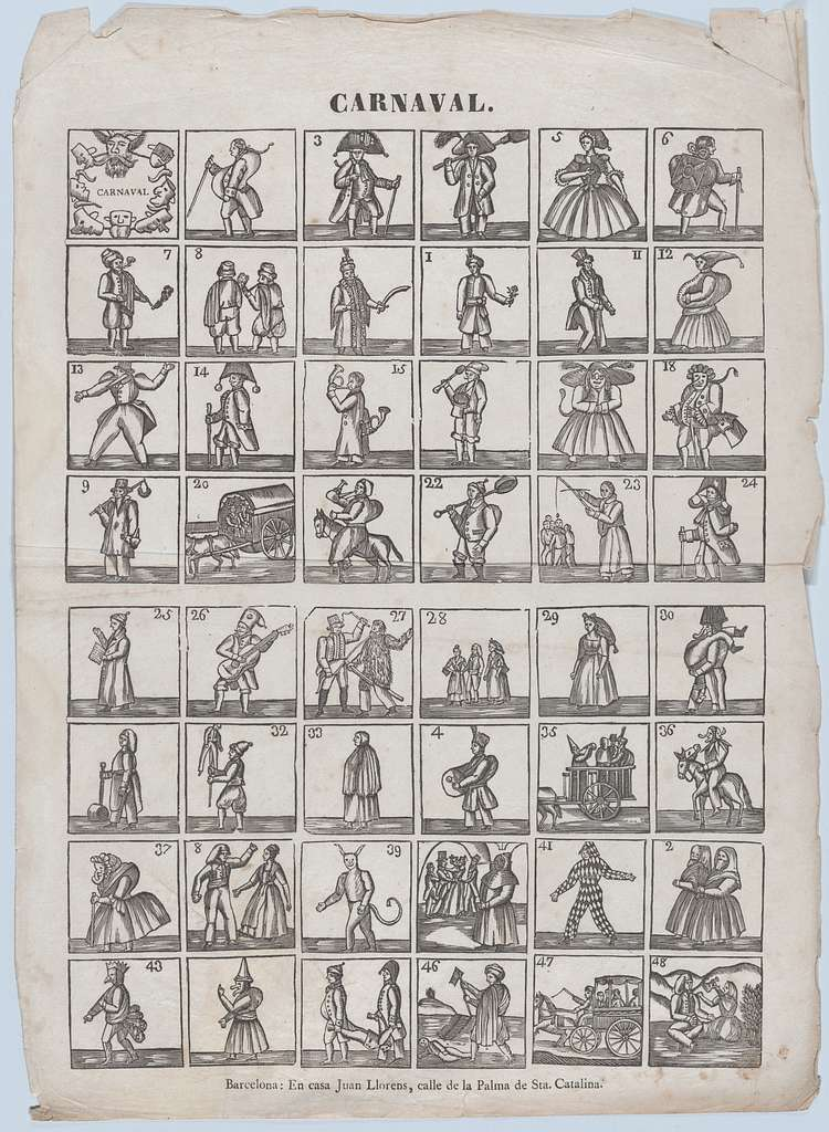 Broadside with 48 figures from carnival