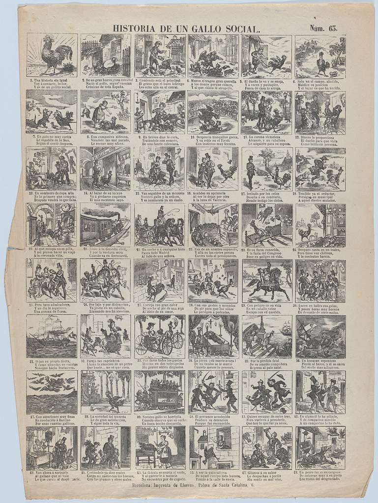 Broadside with 48 scenes telling the story of the chicken (social advancement and decline)