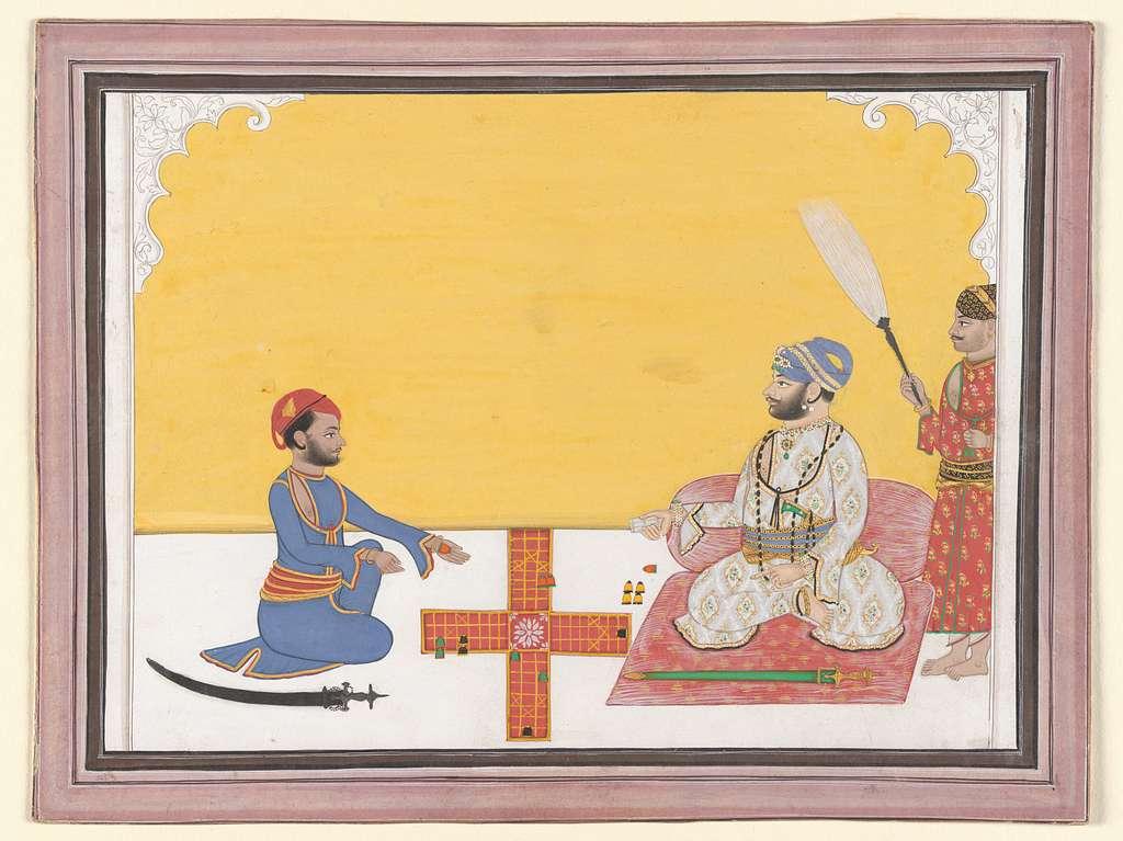 Maharaja Sovan Singh playing pachisi