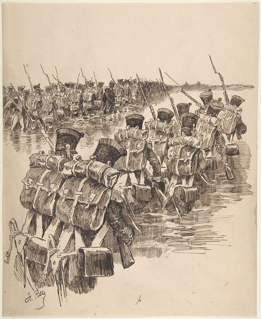 Soldiers Marching in Water
