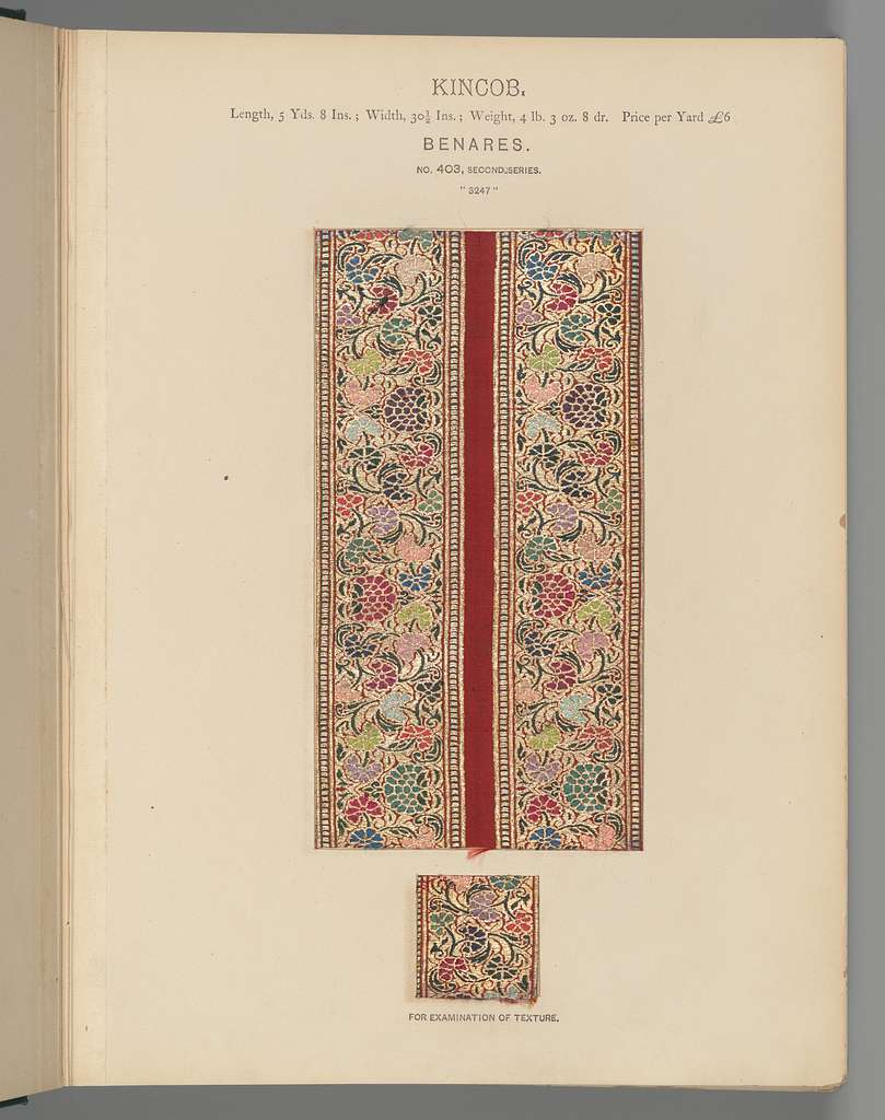 Collection of specimens and illustrations of the textile manufactures of India. Second series : Kincobs, Nos. 401 to 458